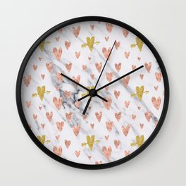 Rose Gold Hearts Marble Pattern Wall Clock