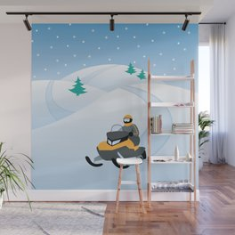 Snowmobiling on a Snowy Winter Day Wall Mural