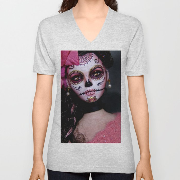 Mexican Hibiscus Day of the Dead Skull Unisex V-Neck