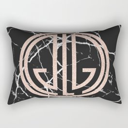 great Gatsby rose gold black marble Rectangular Pillow