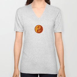 Yellow and Red Yin Yang Roses Unisex V-Neck
