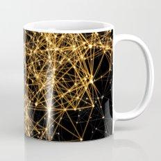 Shiny golden dots connected lines on black Mug