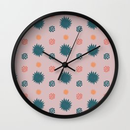 Sunny pattern with green and old pink Wall Clock