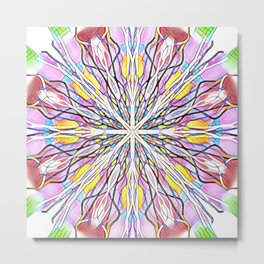 Stain Glass Kaleidoscope Metal Print