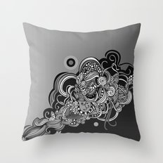 Detailed diagonal tangle, Black Throw Pillow