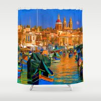 channel Shower Curtains featuring The Channel by Robin Curtiss