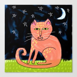 Cat on a Moonlit Night Abstract Digital Painting Canvas Print