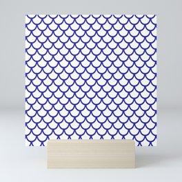 Scales (Navy Blue & White Pattern) Mini Art Print