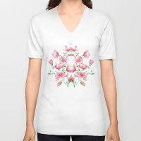 magnolia V-neck T-shirts featuring magnolia by Simona Borstnar