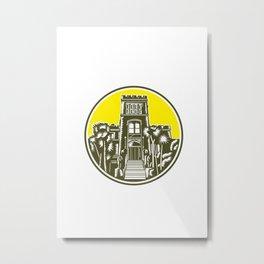 Larnach Castle Dunedin Woodcut Retro Metal Print
