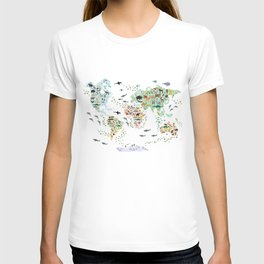 Cartoon animal world map for children and kids, Animals from all over the world back to school T-shirt