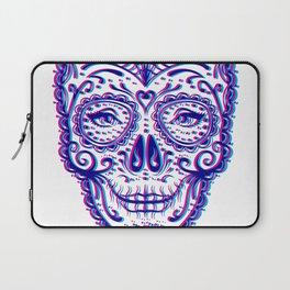 Sugar Skull (Calavera) Chromatic Aberration - Cyan Magenta Laptop Sleeve