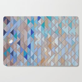 Triangle Pattern no.1 Blues and Browns Cutting Board