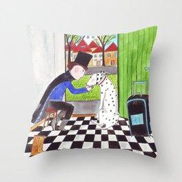 Der Zauberer und sein Dalmatiner Throw Pillow