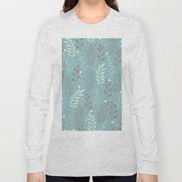 Elegant Teal Leaf Pattern Long Sleeve T-shirt