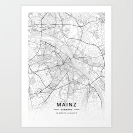 Mainz, Germany - Light Map Art Print