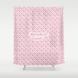 You Make Me Smile - Hearts Pattern Shower Curtain