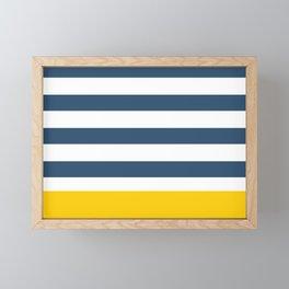 Navy and yellow stripes Framed Mini Art Print