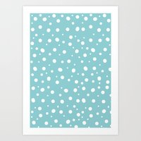 polkadot Art Prints featuring White Polkadot by Laura Maria Designs