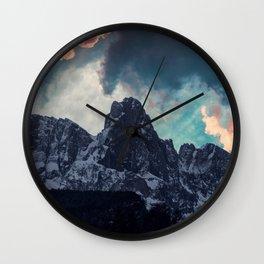 Magic mountain sunset Wall Clock