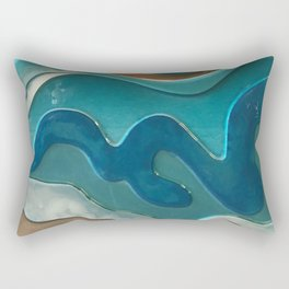 Blue Wave Effect - Glass Art Rectangular Pillow