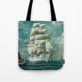 Vintage Large White Sailboat Painting (1895) Tote Bag
