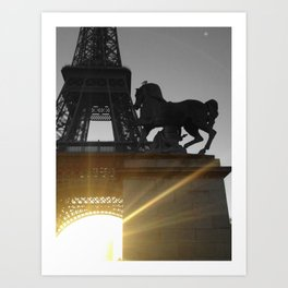 Paris Eiffel tower black and white with color GOLD Art Print