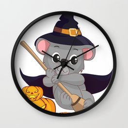 Witch Koala Bear With Broom And Jack O Lantern Halloween T-Shirt Wall Clock