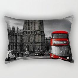 London - Big Ben with Red Bus bw red Rectangular Pillow