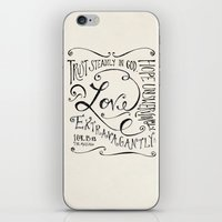 scripture iPhone & iPod Skins featuring Love Extravagantly scripture print by Kristen Ramsey