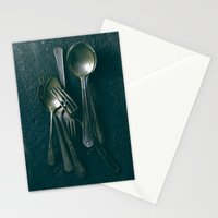 Beautiful Vintage Spoons on Black Stationery Cards
