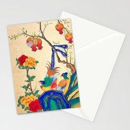 Minhwa: Birds and Peony (Korean traditional/folk art) Stationery Cards