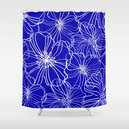 Flower Drawing, Blue and White Shower Curtain