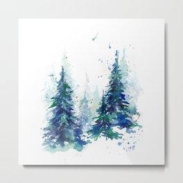 Watercolor winter fir forest Metal Print