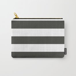 Black olive - solid color - white stripes pattern Carry-All Pouch