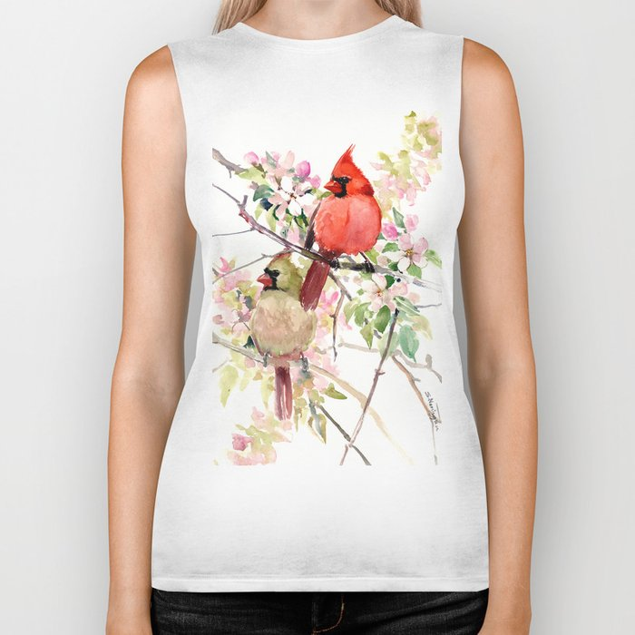 Cardinal Birds and Spring, cardinal bird design Biker Tank