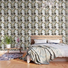 Blackberry Spring Garden - Birds and Bees Cream Flowers Wallpaper