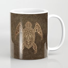 Intricate Vintage and Cracked Sea Turtle Coffee Mug