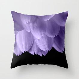 Ultra violet purple flower petals black Throw Pillow