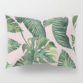 Jungle Leaves, Banana, Monstera Pink #society6 Pillow Sham