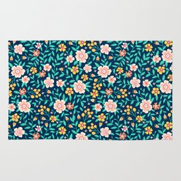 """Cute Floral pattern in the small flower. """"Ditsy print"""". Rug"""