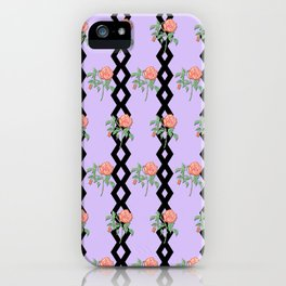 Stem Rose Watercolor Pattern Lavender iPhone Case