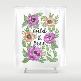 Wild & Free Watercolor Illustration Shower Curtain