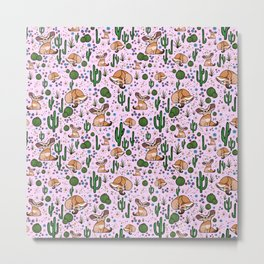 Cute Fennec Fox Pattern Metal Print