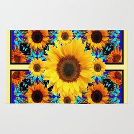 Blue Abstracted Sun Flowers & Butterflies Pattern Rug