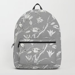 Magnolia flower and birds ink-pen drawing Backpack
