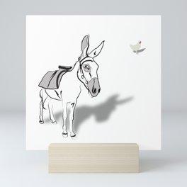 Hen and Donkey Mini Art Print