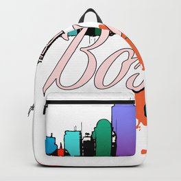 Colorful Boston Skyline Art Tee Backpack