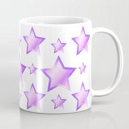 Violet Stars Pattern on White Background Coffee Mug