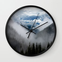 MOUNTAIN, FOREST AND FOG Wall Clock